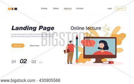 Tiny Man With Giant Pencil Watching Online Lecture. Cartoon Character Looking At Teacher On Screen F