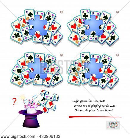 Logic Game For Children And Adults. Which Set Of Playing Card Was The Puzzle Piece Taken From? Page