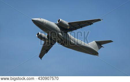 Hampshire, Uk - July, 2016: A Russian Antanov An-178 Transport Plane In Flight. July 16, 2016 Hampsh