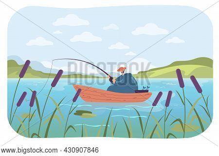 Happy Man Fishing In Boat Flat Vector Illustration. Cartoon Man Holding Fishing Rod, Catching Fish I