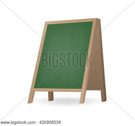 Realistic Street Chalkboard A-frame Standee. Blank Board For Menu Announcement Isolated. Special Adv