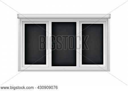 Realistic Triple Plastic Window With Open Blind. White Roller Shutter For Glass Window. Large Open W