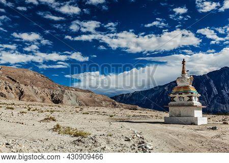 Chorten (Tibetan Buddhism stupa) in Himalayas. Nubra valley, Ladakh, India
