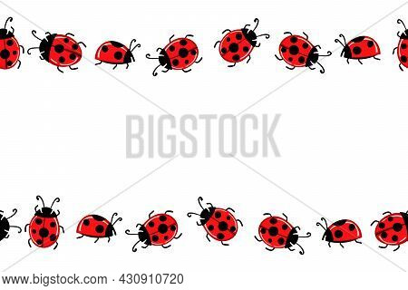 Cartoon Cute Colorful Ladybird Mascot. Ladybags With An Empty Table. Vector Character. Insect Icon.