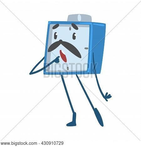 Blue Puzzled Alarm Clock Character With Open Mouth Vector Illustration