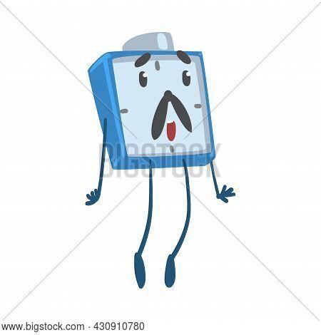 Blue Surprised Alarm Clock Character Jumping In Astonishment Vector Illustration