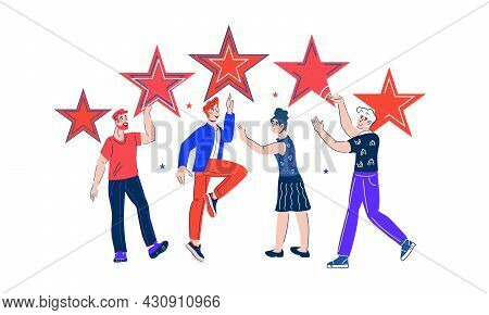 Customer Reviews And Five Stars Rating, Positive Feedback And High Quality Concept. Group Of People