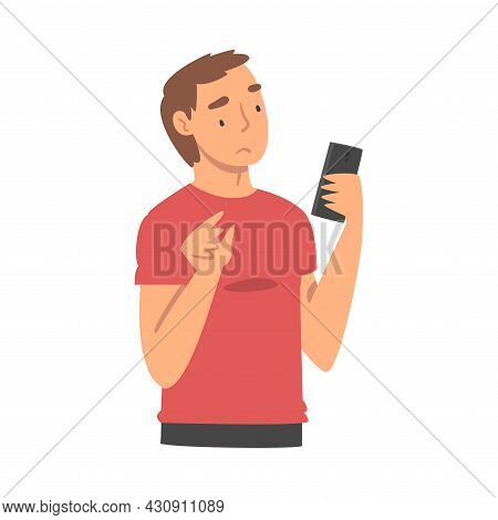 Sad Man With Smartphone Feeling Negative Emotion Suffering From Bullying In Social Media Vector Illu