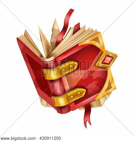 Old Book Vector Illustration, Ancient Vintage Literature Icon, Red Open Diary Cover Isolated On Whit