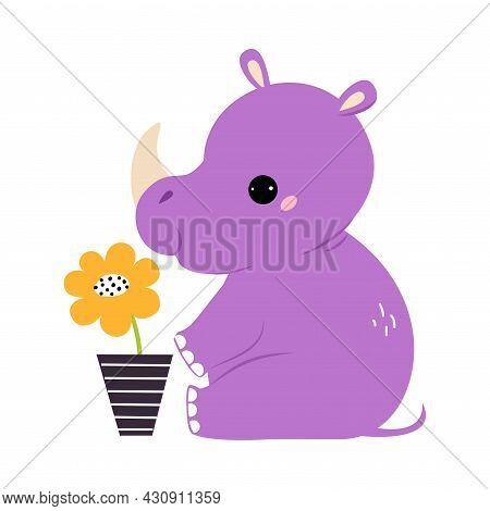 Cute Horned Rhino Animal Sitting Near Flowerpot With Growing Flower Vector Illustration