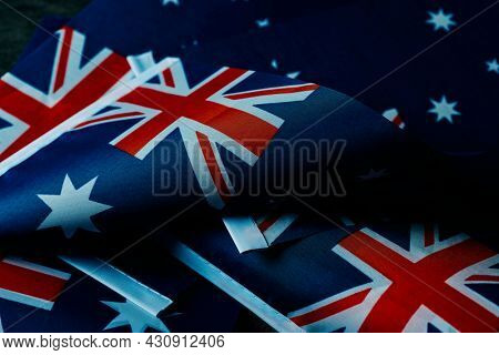 closeup of some australian flags