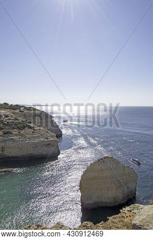 Rock Formations Of Carvalho Beach In Carvoeiro, Lagoa, Algarve, Portugal. Vertically