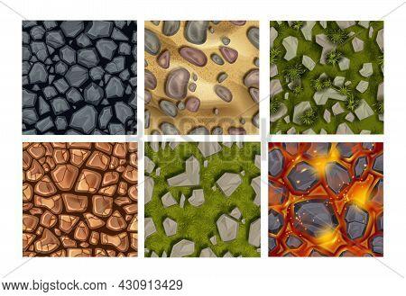 Game Ground Seamless Pattern Set, Vector Stone Texture Kit, Rock, Lava, Green Grass, Underwater Pebb