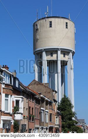 View Of The Well Known Landmark The Water Tower In Aalst, East Flanders, Belgium. Built In 1958 It I