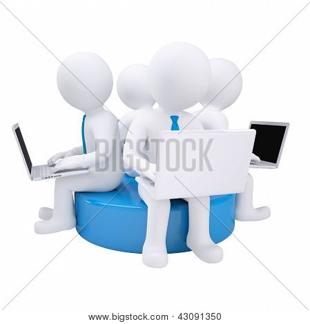 Four 3d man with laptop sitting on a blue disk
