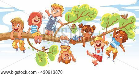 Children Hung On A Tree Branch On Sunny Day. Colorful Cartoon Characters. Funny Vector Illustration