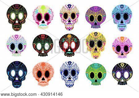 Day Of The Dead Sugar Skulls Set. Dia De Los Muertos Mexican Halloween. Vector