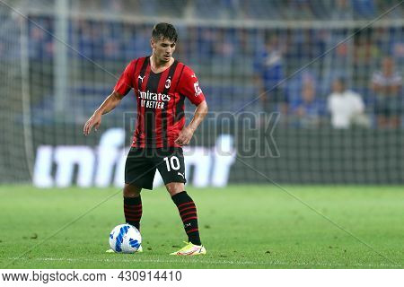 Genova, Italy. 23 August 2021. Brahim Diaz Of Ac Milan  Controls The Ball During The Serie A Match B
