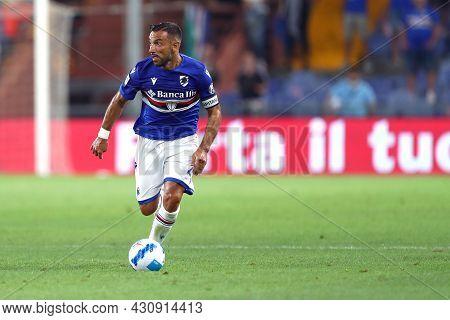 Genova, Italy. 23 August 2021. Fabio Quagliarella Of Uc Sampdoria  Controls The Ball During The Seri