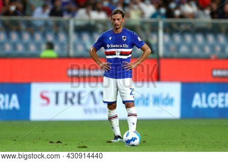 Genova, Italy. 23 August 2021. Manolo Gabbiadini Of Uc Sampdoria  During The Serie A Match Beetween