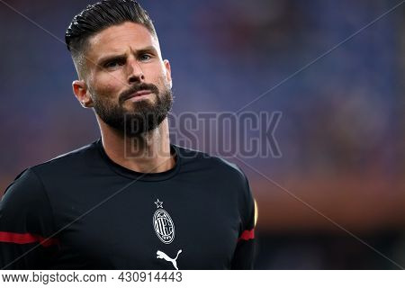 Genova, Italy. 23 August 2021. Olivier Giroud Of Ac Milan  During The Serie A Match Beetween Uc Samp