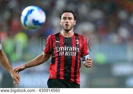 Genova, Italy. 23 August 2021. Davide Calabria Of Ac Milan  During The Serie A Match Beetween Uc Sam