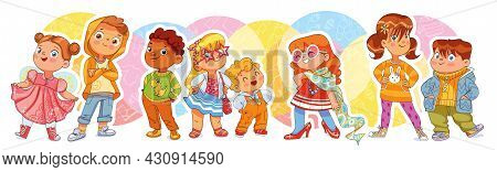 Fashion Children. Funny Cartoon Character. Vector Illustration. Seamless Panorama. Isolated On White