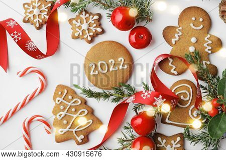 Christmas decoration for greeting card with decorative christmas gingerbread cookies and ornaments