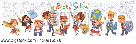 Back To School. Little Children Holding Big School Stationery. Long Banner. Baby Scribbles On The Wa