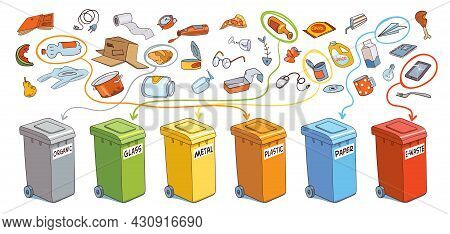 Sort The Garbage In Correct Trash Cans. Organic, Glass, Metal, Plastic, Paper, E-waste. Vector Illus