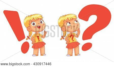 Child On The Background Of A Question Mark And Exclamation Mark. Big Question And Solution. Funny Ca