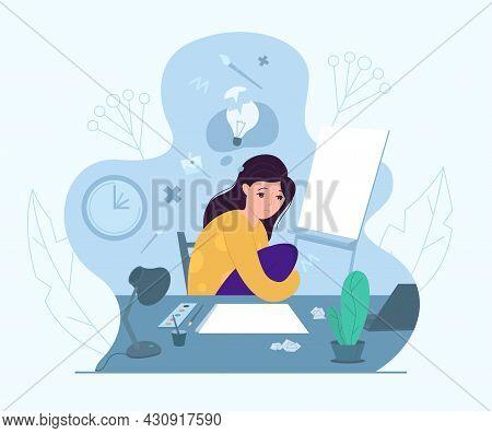 Female Artist Experiencing Creative Crisis, Vector Illustration. Anxiety, Fatigue, Headache, Stress,
