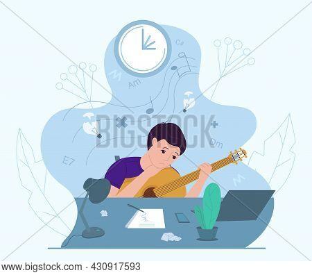 Male Musician Experiencing Creative Crisis, Vector Illustration. Anxiety, Fatigue, Headache, Stress,