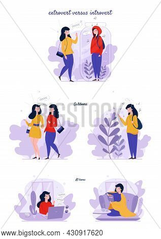 Extrovert And Introvert Personality Types. Extraverted, Introverted Mindset People. Extroversion, In