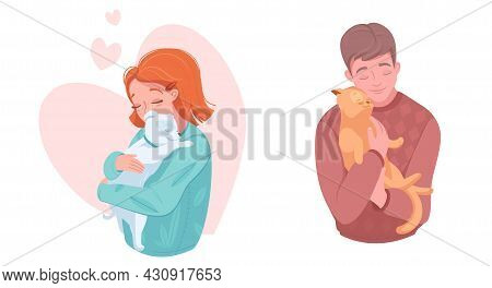 Happy Pet Owners With Puppy And Kitten, Vector Illustration. Girl And Boy Hugging Dog, Cat. Domestic