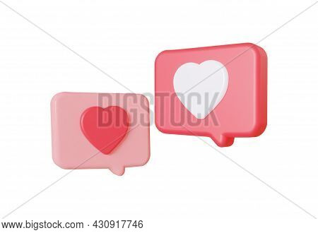 Like Heart Dialog. The Concept Of Social Network Communication. 3d Rendering.