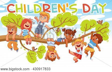 Childrens Day. Children Hung On A Tree Branch. Colorful Cartoon Characters. Funny Vector Illustratio
