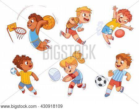 Team Sport. Volleyball, Football, Basketball, Rugby, Handball, Dodgeball. Set. Colorful Cartoon Char