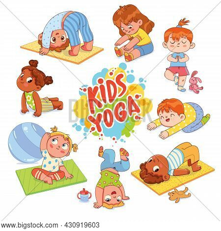 Kids Yoga. Funny Cartoon Character. Vector Illustration. Set. Isolated On White Background