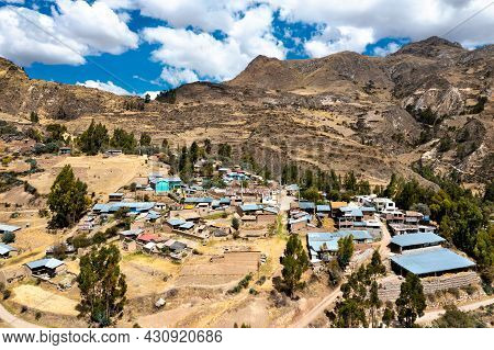 Aerial View Of A Village In The Peruvian Andes