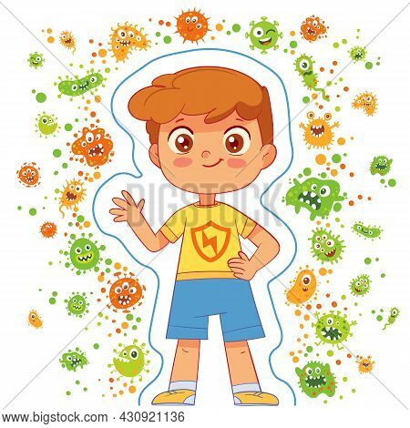 Protecting Children From The Virus. Funny Cartoon Character. Vector Illustration. Isolated On White