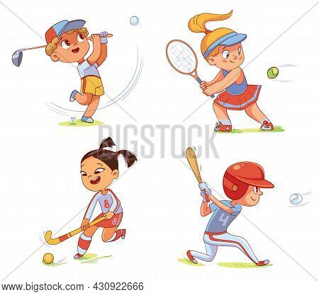 Team Sport. Field Hockey, Baseball, Tennis, Golfing. Set. Colorful Cartoon Characters. Funny Vector