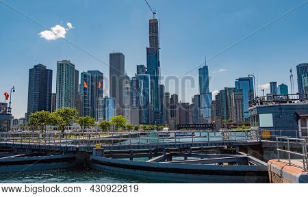The Skyline Of Chicago View From Lake Michigan - Chicago, Illinois - June 11, 2019