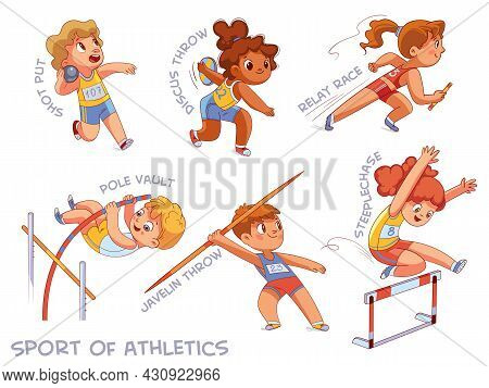 Sport Of Athletics. Set. Shot Put, Discus Throw, Relay Race, Pole Vault, Javelin Throw, Steeplechase