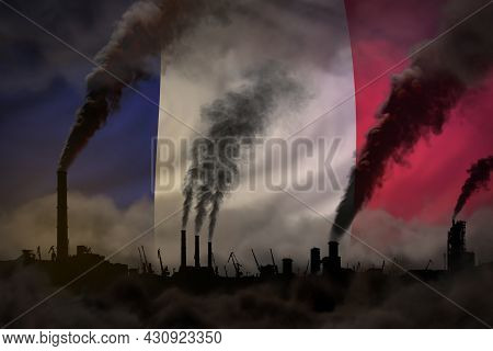 Dark Pollution, Fight Against Climate Change Concept - Industrial 3d Illustration Of Industrial Pipe