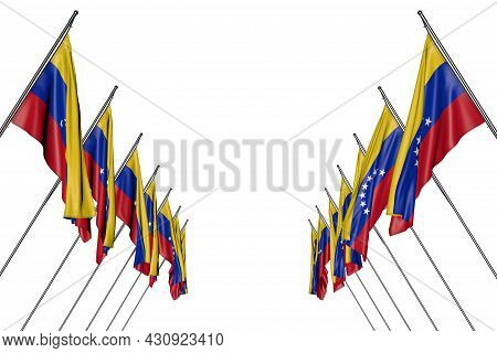 Wonderful Many Venezuela Flags Hanging On Diagonal Poles From Left And Right Sides Isolated On White