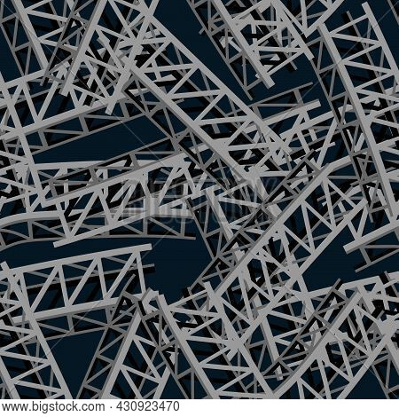 Seamless Structure In The Form Of An Abstract Pattern From A Pile Of Metal Structures For Prints On