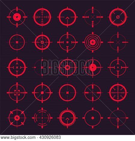 Crosshair, Gun Sight Vector Icons. Bullseye, Red Target Or Aim Symbol. Military Rifle Scope, Shootin