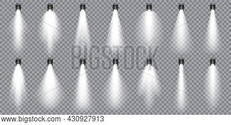Illuminated Studio Spotlights Collection. Bright Light Beam. Transparent Realistic Effect. Stage Lig