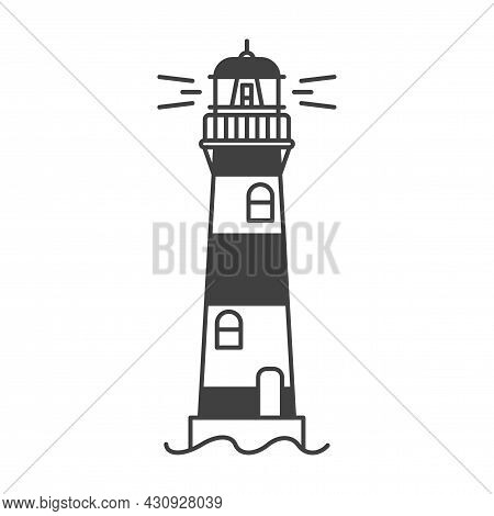 Lighthouse Icon. A Simple Line Drawing Of A Coastal Structure That Serves As A Reference Point For S